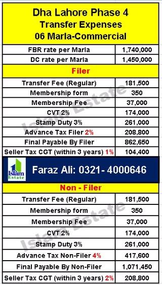 Dha Lahore phase 4 Transfer Expenses 6 Marla Commercial plot for Filer non filer