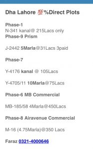 Dha Plots prices