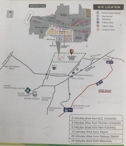 Dha Multan Villas and Defence Housing Authority Multan Location Map Detailed information