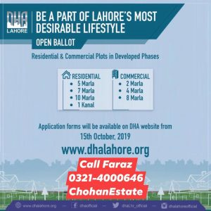 Dha Management Has Launched plots on easy Installements in all phases through belloting For more information and Booking Details and payment plan call