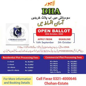 DHA Lahore offers Open BALLOT Plots on easy intatlments